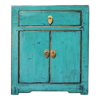 Oriental Distressed Teal Blue Lacquer Side End Table Nightstand For Sale