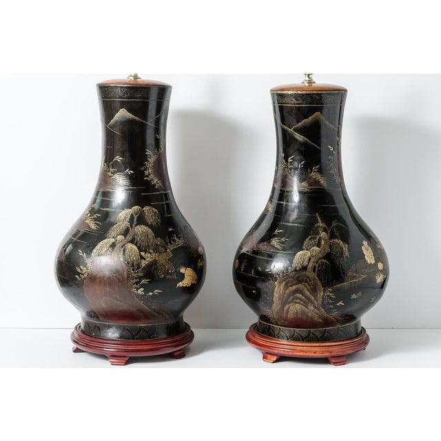 Pair of Antique Huge Chinoiserie Lacquer Urn Lamps C.1870-1890 For Sale - Image 10 of 12