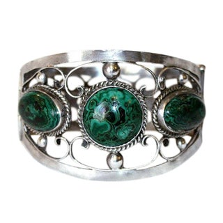Vintage Sterling and Malachite Hinged Bangle, C.1940's For Sale