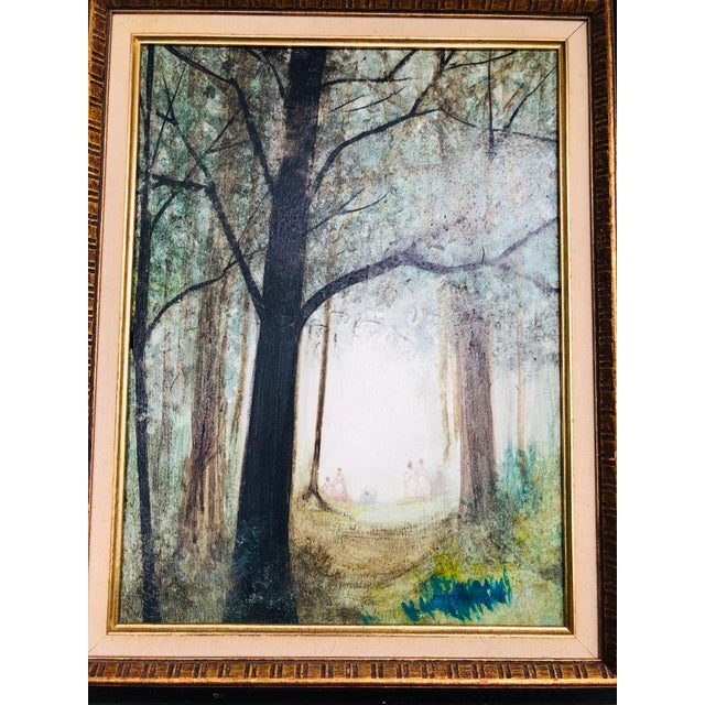 Vintage Mid Century Era Tall Trees Forest Hand Painted Signed Framed Art For Sale - Image 11 of 13