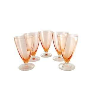Vintage Fostoria Petal Stem Water Goblets - Set of 5 For Sale