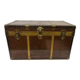 Vintage Industrial Brown Steamship Trunk For Sale