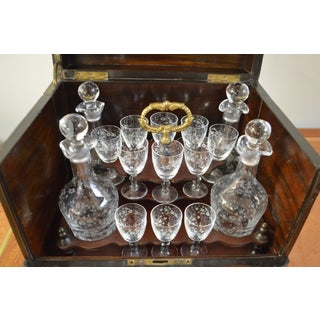 19th Century Portable Bar With the Origianal Etched Crystals Decanters and 14 Sherry Glasses Sitting in a Rosewood Box. Preview