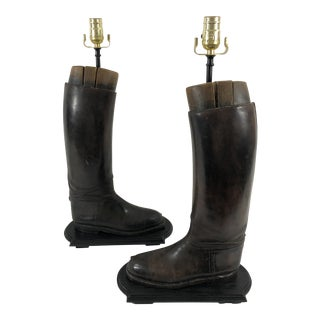 Equestrian Leather Boot Table Lamps Circa 1920s For Sale