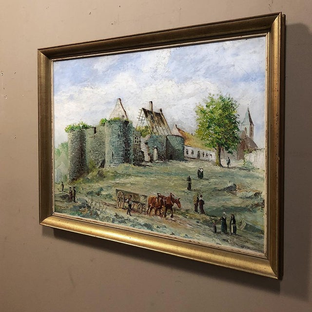 Traditional Mid-Century Framed Oil Painting on Canvas by F. Chantry For Sale - Image 3 of 11