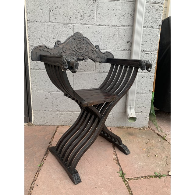 Brown Italian Walnut Savonarola Curule Chairs With Loin Motif- a Pair For Sale - Image 8 of 12