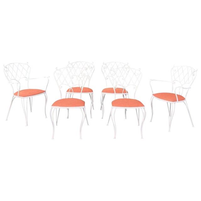 Mid Century Wrought Iron Patio Garden Dining Chair Set- 6 Pieces For Sale
