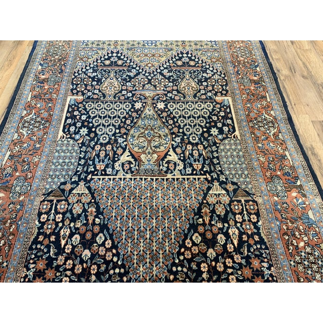 Textile 1910s Antique Persian Kashan Rug- 4′ × 6′6″ For Sale - Image 7 of 12