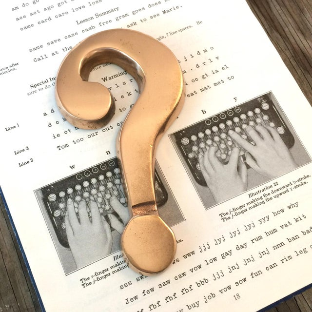 Vintage 1970 Brass Question Mark Paperweight For Sale - Image 4 of 4