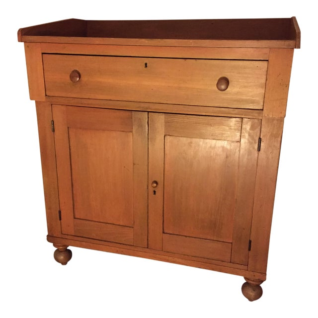 Antique Country Cupboard With Gallery Top For Sale
