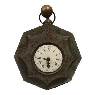 Antique Painted Tole Clock Without Movement