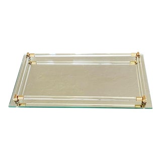 Rectangular Hollywood Regency Mirrored Glass Display Tray With Brass Detail For Sale