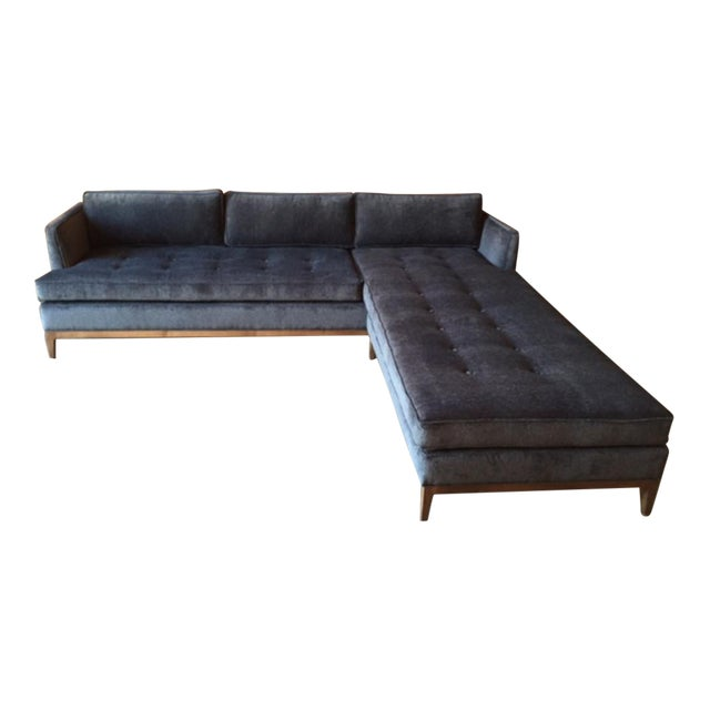 Gray Mid-Century Style Custom Reversible Sofa Chaise Lounge For Sale - Image 8 of 8