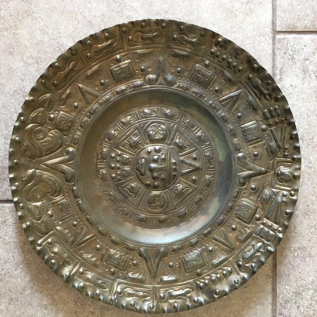 Vintage Solid Brass Mayan Tray For Sale - Image 9 of 10