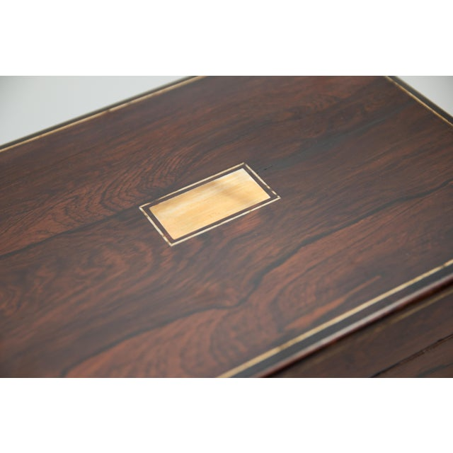 Mother-of-Pearl 19th-Century English Rosewood Box, Lock & Key For Sale - Image 7 of 10