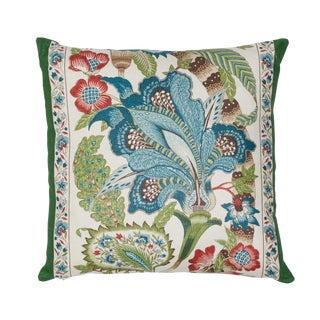 Contemporary Schumacher X Timothy Corrigan Anjou Stripe Pillow in Emerald For Sale