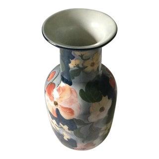Vintage Floral Motif Porcelain Vase From Thailand For Sale