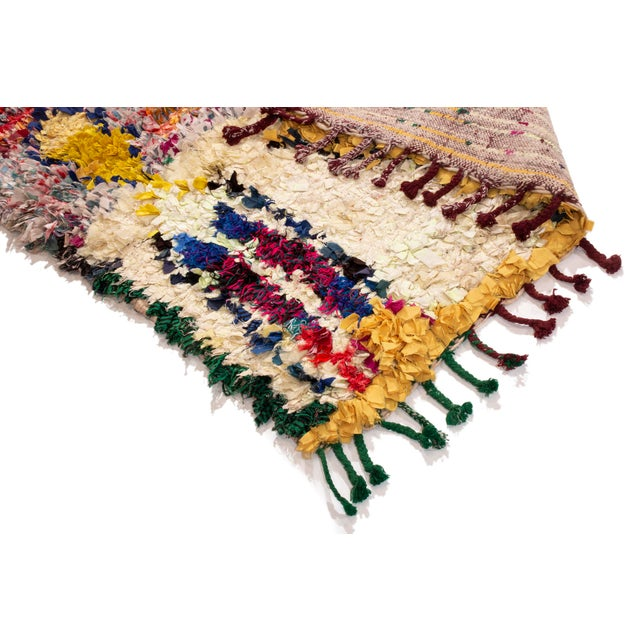 Islamic Vintage Midcentury Moroccan Transitional Yellow and Red Fabric Rug - 3′4″ × 4′1″ For Sale - Image 3 of 6