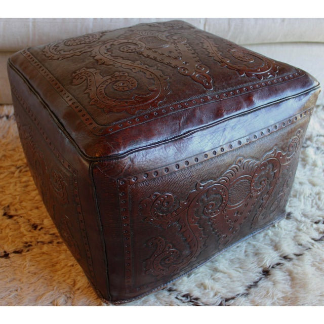 Brown Extra Large Vintage Hand Tooled Peruvian Saddle Leather Angel Pazmino Style Ottoman For Sale - Image 8 of 12