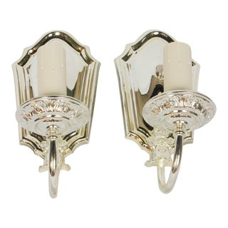 1920s Silver Plated Sconces - a Pair For Sale