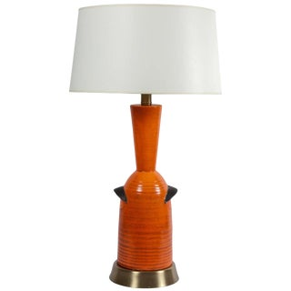 Orange Pottery Table Lamp by Raymor For Sale