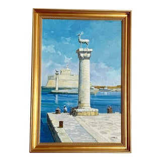 Greek Isles Turquoise Acrylic Painting in Git Frame - Signed Original For Sale