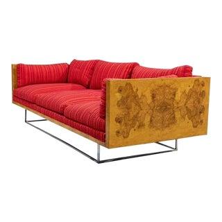Milo Baughman Burl Wood Sofa for Thayer Coggin For Sale