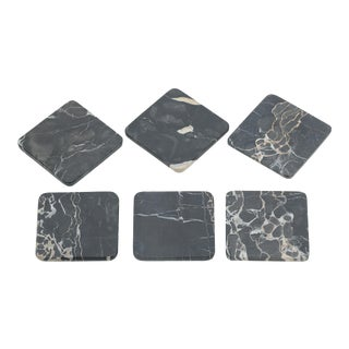 Vintage Set of Six Marble Coasters For Sale