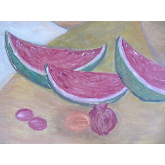 Acrylic Mid-Century Still Life Painting of Watermelon and Pomegranate For Sale - Image 7 of 8