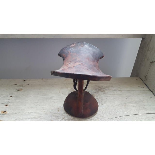 African Headrest With Leather Strap For Sale - Image 4 of 8