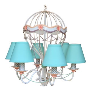 1960s Vintage Italian Tole Hot Air Balloon Chandelier For Sale