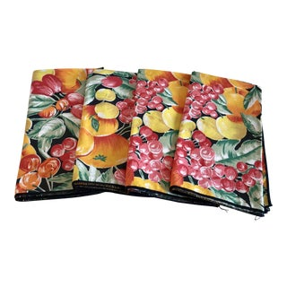 Colorful Fruit Motif Napkins - Set of 4 For Sale