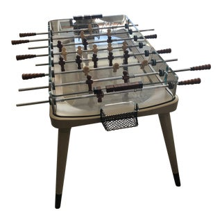 Giorgetti Foosball Table W/ Glass and Saddle Leather For Sale