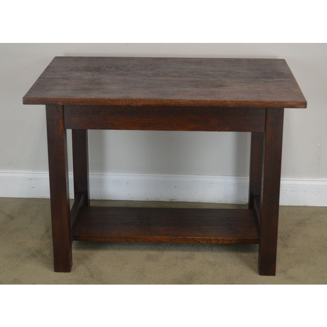 Mission Oak Antique One Drawer Table Writing Desk Possibly Stickley For Sale In Philadelphia - Image 6 of 13