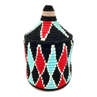Red and Blue Moroccan Wool Basket For Sale