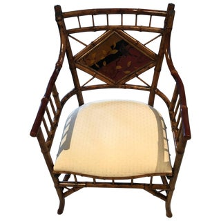 Japanese Style English Bamboo Armchair For Sale