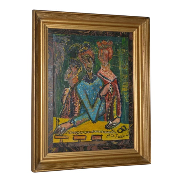 """Ruth Rosekrans (1926-2007) """"Sisters"""" Original Oil Painting C.1950s For Sale"""