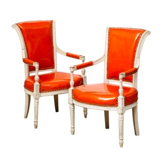 Antique Directoire Style Chairs in Orange Patent Leather - a Pair For Sale