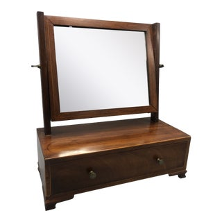 1930s Victorian Wood Jewelry Vanity Box With Adjustable Mirror and a Pullout Drawer For Sale