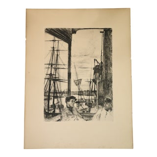 Mid 19th Century Antique James A. M. Whistler Rotherhithe Print For Sale