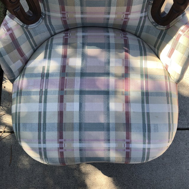 Antique Eastlake Plaid Upholstered Side Chair For Sale - Image 12 of 13