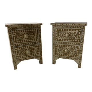 Stone & Wood Inlaid Nightstands - a Pair For Sale