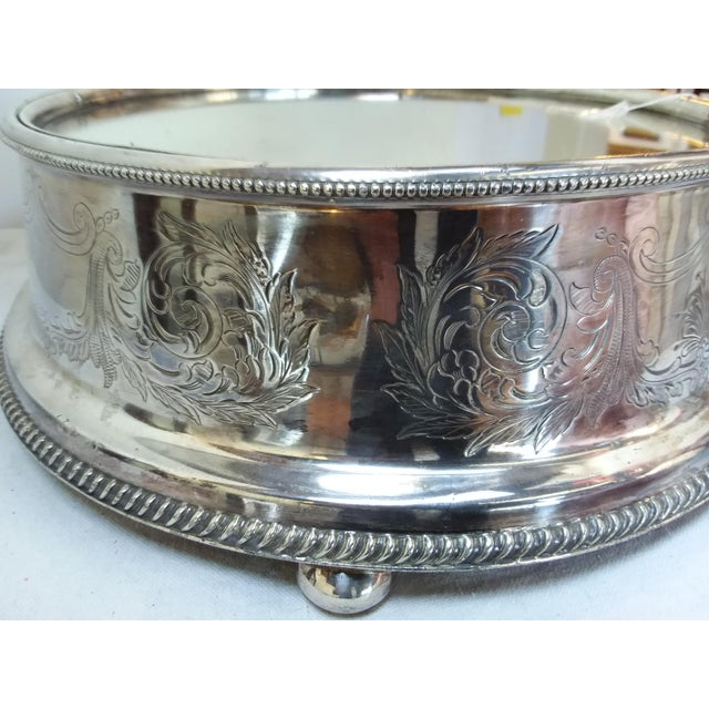 19th C English Silver Plate Mirror Topped Plateau - Image 5 of 5