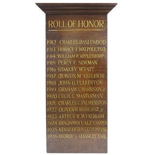 Plaque - Antique 'Roll of Honor' For Sale