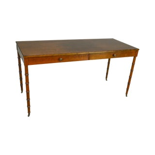 Faux Bamboo Turned Leg Cherry 2 Drawer Writing Desk For Sale