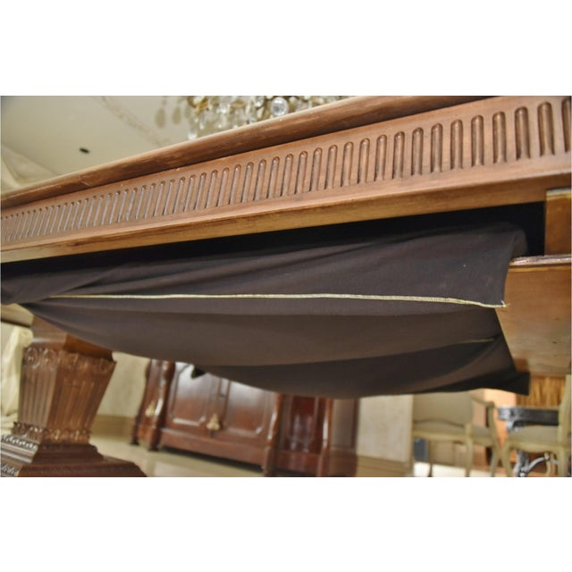 Wood Contemporary Double Pedestal Banquet-Sized Extension Dining Table For Sale - Image 7 of 10