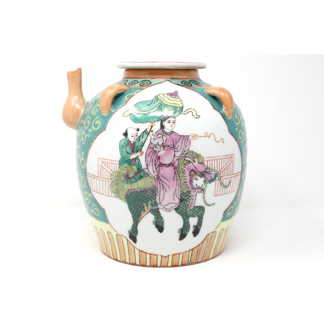 Asian Vintage Chinese Decorative Lidded Water Jug For Sale - Image 3 of 13