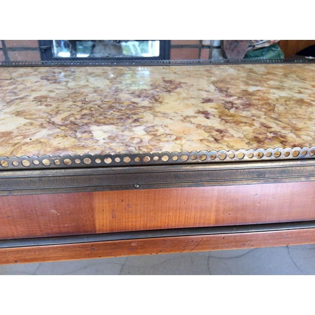 French Walnut Coffee Table With Marble Top For Sale - Image 4 of 11