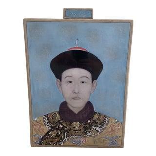 Fabienne Jouvin Paris Hand Painted Ceramic Vase the Last Emperor For Sale