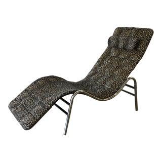 1980s Vintage Leopard Chrome Wave Chaise Lounge For Sale